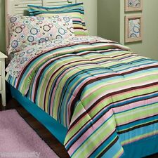 Mia Colorful Stripe Polka Dot Circle Flower Floral Comforter Bed In a Bag Set F