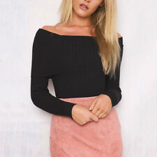 Womens Ladies Off The Shoulder Jumper Ladies Ribbed Pullover Sweater Top Blouse
