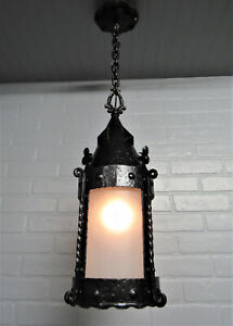 """Early Antique Craftsman Porch Ceiling Light Hand Hammered Wrought Iron 31 1/4"""" L"""