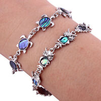 Women Colorful Sea Turtle Charm Beads Bracelet Silver Tone Chain Lobster Clasp