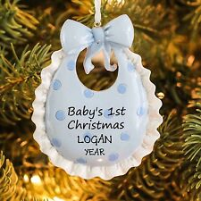 Baby`s First Christmas BIB Baby Boy Personalized Christmas Tree Ornament