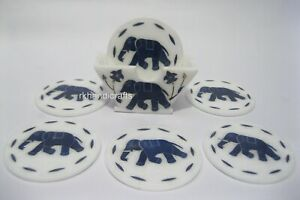 4.5 Inches Marble Wine Coaster Inlay Tea Coaster with Elephant Design Home Decor