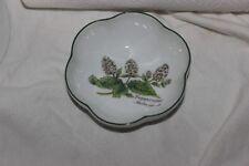 Royal Worcester Herbs Green Trim Round Scalloped Bowl Peppermint Butterflies