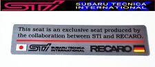 NEW!!SUBARU GC8 Impreza WRX STI RECARO Seat Sticker Emblem OEM JDM