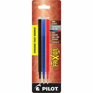 Pilot FriXion Ball Erasable Gel Ink Refills, 0.7mm Fine Point - Black, Blue, Red