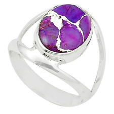 Purple Copper Turquoise Silver Ring - Free Postage