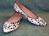 Mercanti Fiorentini Size 10 Calf Hair Black & White Cow Point Toe Ballet Flats