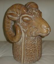 "Impressive Mid-Century Modern Signed RAM Head Pottery Sculpture 13.5"" High"