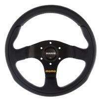 GENUINE Momo TEAM 280mm Steering Wheel black leather and black spokes
