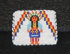 "COIN PURSE, BEADED W/NATIVE AMERICAN DESIGN, TOURIST ITEM, 3""x2 1/2"", GOOD!"
