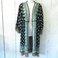 New Angie Kimono S Small Black Batik Print Crochet Open Front Boho Peasant