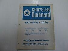 1972 Chrysler Outboard 20 HP Parts Catalog Manual 202 203 HD H BD B OB 1476 OEM