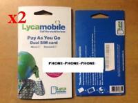 2 x Lycamobile Lyca mobile ireland SIM PACK Irish Sim **great rates for Data**