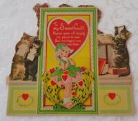 Vintage Valentine, Large Mechanical, Musical Kittens