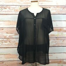 Eileen Fisher Oversized Sheer Silk Button Front Blouse Size Medium Black Boxy