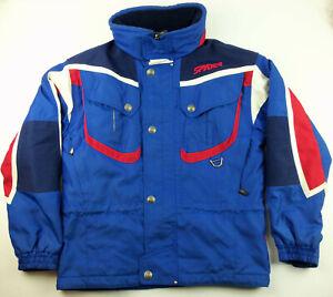 Spyder Boys Ski Snowboard Winter Jacket Youth Kids Size 14 with Hidden Hood Blue