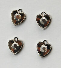 SWAROVSKI RHINESTONE HEART PENDANT BEADS STERLING SILVER PLATE • ASSORTED COLORS