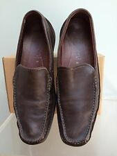 10 M US 44 EU - ECCO Brown Leather & Suede Square Toe Moc Loafer