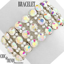 Chunky Bracelet Formal Wedding Jewelry High End Aurora Borealis Glass Crystal