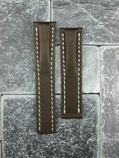 20mm Calf Leather Strap Brown Deployment Watch Band BREITLING White 20