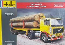 Heller Kit Volvo F12-20 & Timber Semi Wood Trailer 1:3 2 Model Kit Art 81704