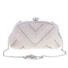 Handmade Beaded Pearl Evening Bag Clutch Crystal Handbag Purse Party Wedding