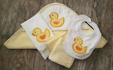 infant bath set yellow ducks - hooded towel, washcloths, bib, burp cloth