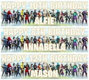 2 x Personalised  FORTNITE Birthday Banner ANY NAME, ANY AGE