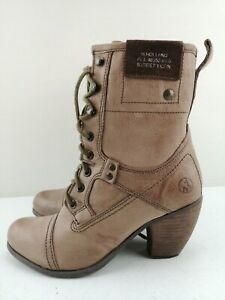 HENRY HOLLAND Grey Dark Beige? Leather Ankle High Shoe Military Boot Size 5 38