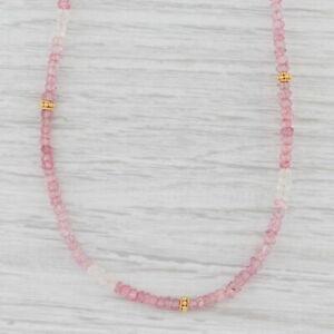 New Nina Nguyen Long Harmony Pink Topaz Bead Necklace Sterling Gold Vermeil