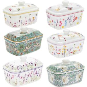 FINE CHINA BUTTER DISH VINTAGE STYLE COUNTRY LIFE WITH LID AND GIFT BOX