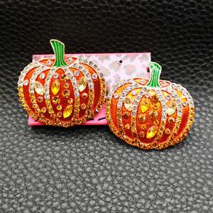 Betsey Johnson Orange Enamel Crystal Halloween Cute Pumpkin Stud Earrings Gift