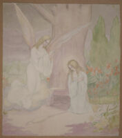 Aquarelle Ancienne Scène Religieuse Femme Prière Ange MAURICE PERRET-CARNOT 1911