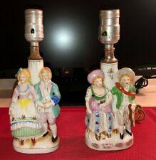 """Vintage Japan Porcelain Colonial Couple 10"""" Boudoir Lamps, Set of 2"""