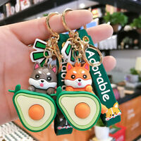 Shiba Inu Keychains Watermelon Avocado Pendant Keyring Bag Key Chains Ornaments.