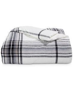 Hotel Collection FULL/QUEEN Duvet Cover Linen Plaid White/Black L97190