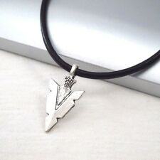 3mm Black Leather Ethnic Tribal Necklace Silver Alloy Spear Arrow Symbol Pendant