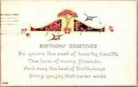 Antique Vtg 1910's ART DECO WITH POEM Happy Birthday Wishes Greeting Postcard