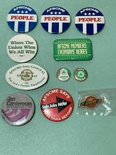 Lot of 10 AFSCME union buttons - pins - pinbacks 1991 - Iowa + Lapel Pin