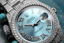 Rolex Datejust II 116334 Blue Roman Diamond Dial Stainless Steel Custom Diamond