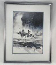 PAUL KUO Signed (2) Art Prints Southwestern American Winter Snow Warrior Horses