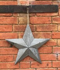 Grey Washed Rustic Shabby Chic Wooden Amish Barn Lucky Star 39cm
