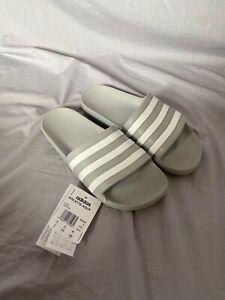 Adidas Originals, Men's Grey and White Sliders, Size UK 9 - Brand New