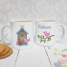 Personalised White Ceramic Mug - Bird House, Bird On Branch