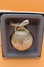 Wedgwood Round Ball Shaped Sleigh Ride Christmas Ornament, Taupe/White w/ Box