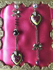 Betsey Johnson Viva La Betsey Dia De Los Muertos Sacred Heart Rose Earrings RARE