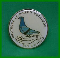 Pin's pins colombophilie Oiseau Bird PROTÉGEZ LE PIGEON VOYAGEUR S/G CALHIS . 2