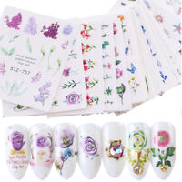 24 Sheets Colorful Flower Nail Art Decals Water Transfer Cute Stickers Tattoos