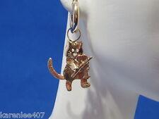14 K Cat &  Fiddle Earrings  Charms 14 kt  Yellow Gold  Interchangeable Custom