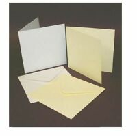 "50 WHITE 5"" x 5"" BLANK CARDS 250gsm & ENVELOPES 120gsm CARD MAKING CRAFT ART 243"